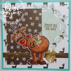 Art Impressions Rubber Stamps: Jingle Set (Sku#4681), Ai Shakers, handmade Christmas card. Rudolph, wobbles, bells,