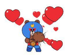 BRAWL STARS × LINE FRIENDS Cute Bunny Cartoon, Cute Couple Cartoon, Star Stickers, Bumper Stickers, Star Gif, Star Coloring Pages, Hug Gif, Emoji Love, Star Comics