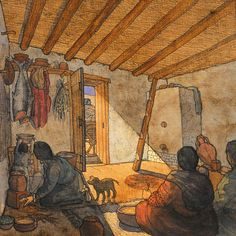 Interior of a Celtic house in Arles, Gaul by Jean-Claude Golvin