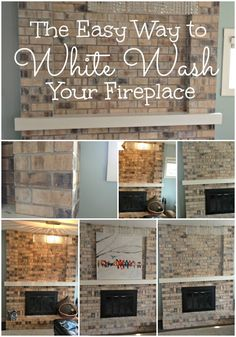 How To White Wash A Fireplace The Easy Way #DIY #Fireplace #WhiteWash