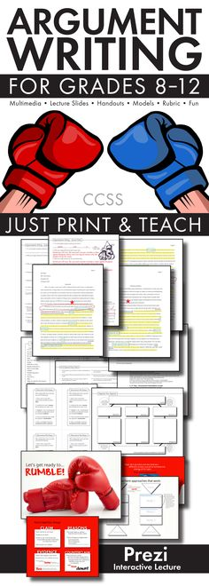 Essay Writing, Argument Writing How to Guide, Topics, Rubric CCSS Get teens excited about writing argumentative-style essays. Fresh, fun print-and-teach materials for grades Argumentative Essay Topics, Persuasive Writing, Teaching Writing, Essay Writing, Writing Guide, Academic Writing, Writing Jobs, Help Teaching, Fiction Writing