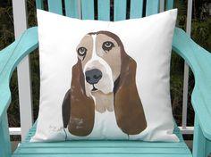 """Dog pillow BASSETT hound 20""""x20"""" (50cm) outdoor hush puppy hand painted canine best friend Crabby Chris Original"""