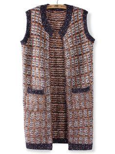 Casual Plaid O-Neck Sleeveless Yarn Knit Cardigan Sweater - Gchoic.com