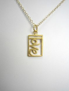 Gold Love Pendant Necklace Gold Vermeil 14k by TurtleCoveDesigns