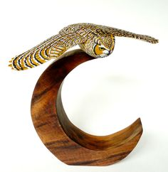 Owl and Moon - Artwork by Tim McEachern. Owl Artwork, Owl Moon, Moon Pictures, Wood Art, Symbols, Owls, Unique Jewelry, Handmade Gifts, Etsy