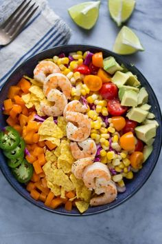 Honey Lime Shrimp and Avocado Taco SaladReally nice recipes.  Mein Blog: Alles rund um die Themen Genuss & Geschmack  Kochen Backen Braten Vorspeisen Hauptgerichte und Desserts # Hashtag