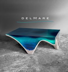 acrylic glass and marble table, seemingly made to look like an ocean bed with an organic feel to the table :)