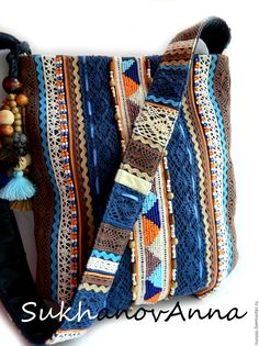 """Купить Бохо - сумка """"Freedom3"""" - тёмно-синий, в полоску, сумка комбинированна…"""