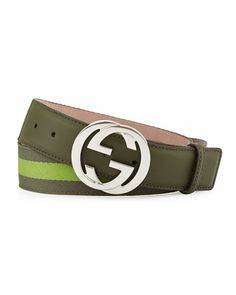 Web Belt with Interlocking G Buckle, Olive by Gucci at Neiman Marcus. Gucci Web Belt, Gucci Shoes, Belt Tying, Men's Collection, Neiman Marcus, Versace, Baseball Hats, Mens Fashion, Belts