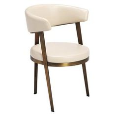 A modern classic, the Adele Dining Chair in Cream looks chic and sophisticated with it's cream upholstery and bronze finished base. Height x Width x Seat Height Made of Faux Leather and Steel Latte and Bronze Finish Modern Dining Chairs, Dining Chair Set, Dining Room Chairs, Office Chairs, Dining Table, Kitchen Chairs, Round Dining, Adele, Round Chair