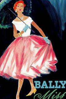 Vintage Advertising Poster | Bally The Shades of pink among the white highlights of the skirt really stand out in this poster. The colour matching between the gloves and the BALLY heading also contrast with the pink. The pose of the lady makes her appear important and wealthy.