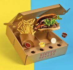 Дизайнеры изКолумбии Alejandra Forero иMaria del Sol Poveda Cas создали оригинальный дизайн иконструкцию упаковки изгофрокартона длядоставки надом ипродажи навынос свеже приготовленных гамбургеров Sierra Nevada.  Это коробка разделена перегородками наотсеки длякартофеля фри иовощных салатов, длясамого гамбургера ибутербродов. Впередней части коробки сделаны четыре специальные ячейки длясоусов. Коробка можно пользоваться какподносом.  http://am.antech.ru/Thi0