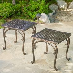 51 Outdoor Side Tables That Will Add Convenience To Your Outdoor Experience Outdoor Settings, Table Settings, Outdoor End Tables, Patio Tables, Solis, End Table Sets, Side Tables, Aluminum Patio, Metal Side Table