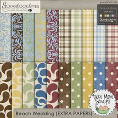 Beach Wedding EXTRA PAPERS by TwinMomScraps only $1 is on Sale through July 8 - July 14; http://scrapbookbytes.com/store/product.php?productid=44594=254. 08/07/2013