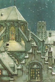 """""""Snowy Church"""" watercolor by Anton Pieck"""