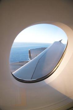 A peek out a #Lufthansa A380.