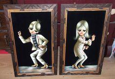 """Oil Paint on Felt Big Eye Moppet Art w/ Mod Beatnik Kids Framed 23""""x14"""""""