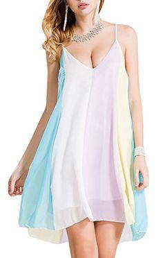 Awesome Farktop Women's Plus Size Summer Chiffon Tunic Dress Color Block Slip Beach Mini Dress