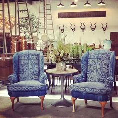 Reupholstered wingback chairs using vintage indigo textiles. Make sure to follow us on Facebook and Instagram @bigdaddy_antiques