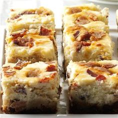 Bacon Chocolate Chip Cheesecake Blondies Recipe -If you're a sweet and savory fan like myself you'll absolutely love these. I mean really, there's not much better than a cookie, brownie and cheesecake all mixed up together with bacon to top it off. —Katie O'Keeffe, Derry, NH
