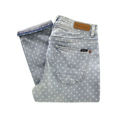 Paul by Paul Smith Women's F247 Blue Polka Dot Cropped Jeans - Blue ($77) ❤ liked on Polyvore