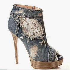 Meu Mundo Craft: Sapatos forrados com Jeans