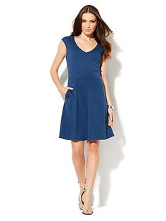 Shop V-Neck Flare Dress . Find your perfect size online at the best price at New York
