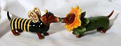 Doxie Bee and Flower Salt N Pepper, Salt Pepper Shakers, Remembering Mom, Dachshund Art, Bowser, Whimsical, Bee, Measuring Spoons, Flowers
