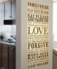 Cream & Brown Family Rules Wall Canvas   Daily deals for moms, babies and kids
