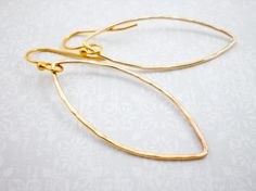 Gold Marquise Hoop Earrings, Hammered Gold Earrings, 14kt Gold Hoop Earrings, Wedding Jewelry, Bridesmaid Earring, Inv118 on Etsy, $82.35