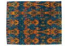 "One Kings Lane - One-of-a-Kind Rugs - 8'x10'1"" Ikat Rug, Sapphire/Saffron"