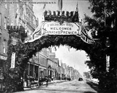 Queen Street, Fredericton – decorated for visit of Sir John A. MacDonald