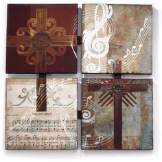 Metal Crosses on Canvas Plaques - Amazing Grace