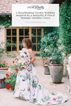 Today we're sharing the most magical garden fête inspired by the bride's butterfly and floral Monique Lhuillier gown! 🦋  Filled with breathtaking floral arrangements, a jazz quartet, and vintage teacups for an after-dinner tea service, this is one wedding you do not want to miss. We're sharing all the details on SMP, including the bride and groom's heartwarming love story! 💕  Photography: @lunademarephoto  #moniquelhuillierbride #uniqueweddingdress #floralweddingdress #gardenwedding
