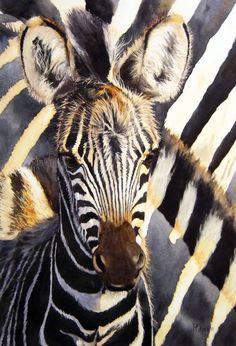 Pam Quinlan – Watercolors (various) – Zebra (SOLD)