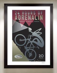 24 Hours of Mountain Bike Event Poster | from Michael Valenti - Heading into the woods to draw!