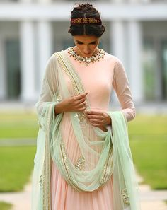 Harshitaa Chatterjee Deshpande - Label's new collection is stunning in it's grounded intricacies and detailing in soothing pastel shades. India Fashion, Ethnic Fashion, Asian Fashion, Mode Bollywood, Bollywood Fashion, Robe Anarkali, Lehenga Choli, Desi Wear, Indian Attire