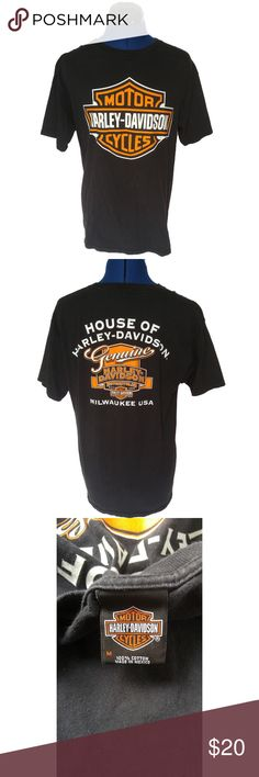 "Harley Davidson House of Harley Tshirt Size M Features: 19"" Shoulder to Shoulder 40"" Chest 24"" Length No graphic cracking Made by Bravado  Any questions or extra photos don't hesitate to ask. I've described the item to the best of my ability.  All items come from a non smoking, non pet home. Bravado Shirts Tees - Short Sleeve"