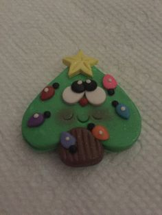 Happy Face Christmas Tree Polymer Clay by RileighsBeadCandyCo