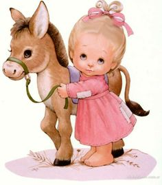 Girl with donkey - Ruth Morehead Vintage Cards, Vintage Images, Cute Images, Cute Pictures, Art Mignon, Sarah Kay, Cute Clipart, Holly Hobbie, Pretty Baby