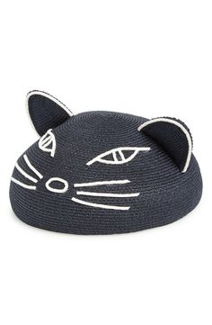 Hand-embroidered suede strips form a saucy feline face on this delightful beret topped with adorable cat ears.