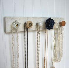 Jewelry Storage Wall Organizer with a Navy Rose by sweetsadiek