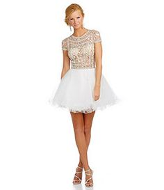 Glamour by Terani Couture Cap Sleeve Jeweled Party Dress