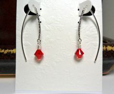 Silver Textured Ear Wires and Red Swarovski by ThenThereWereThree