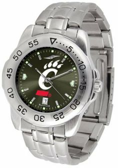 Cincinnati Sport Anonized Men's Steel Band Watch by SunTime. $57.45. This handsome, eye-catching watch comes with a stainless steel link bracelet. A date calendar function plus a rotating bezel/timer circles the scratch resistant crystal. Sport the bold, colorful, high quality logo with pride.
