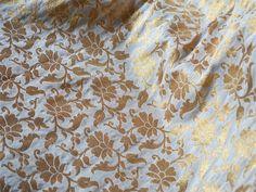 1 yard Silk Brocade Fabric off white and gold Floral Pattern Weaving -Pure Banarasi Brocade Silk Fabric - Indian Silk, Wedding Dress Fabric