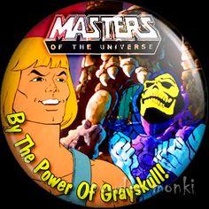 Retro Kids TV Badge/Magnet - He-Man Masters of the Universe ~ www.powdermonki.co.uk ~