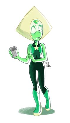mike-hiscott:  I have a feeling Peridot's first costume will only be slightly different than her current one.That or she'll wear a pair of boxers over top of it covered in stars.