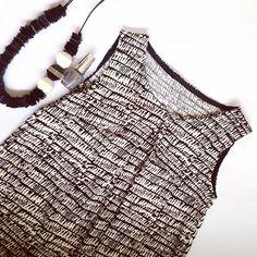 NEW Marimekko Dress Black White Silk