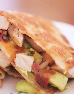 Cheesy Chicken, Bacon and Avocado Quesadillas